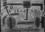 A jede se! – Snožmo – Hranatý jezdec na přístroji, 2016 (kresba tužkou, bílou tuší a akrylovým tmelem na papíře, 880 x 628 mm)