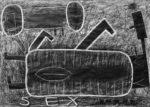 Sex, 2016 (kresba tužkou, pastelkou, bílou tuší a akrylovým tmelem na papíře, 880 x 628 mm) A jede se! – Snožmo – Hranatý jezdec na přístroji, 2016 (kresba tužkou, bílou tuší a akrylovým tmelem na papíře, 880 x 628 mm) 16 \ kulér \ prosinec \ UNI \ 2016 2016