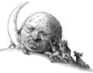 Muž na Měsíci v představách karikaturistů dob minulých